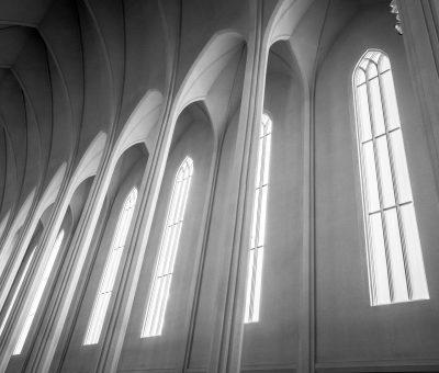 Tall windows in a church